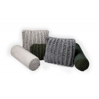 plain fabric + crochet application