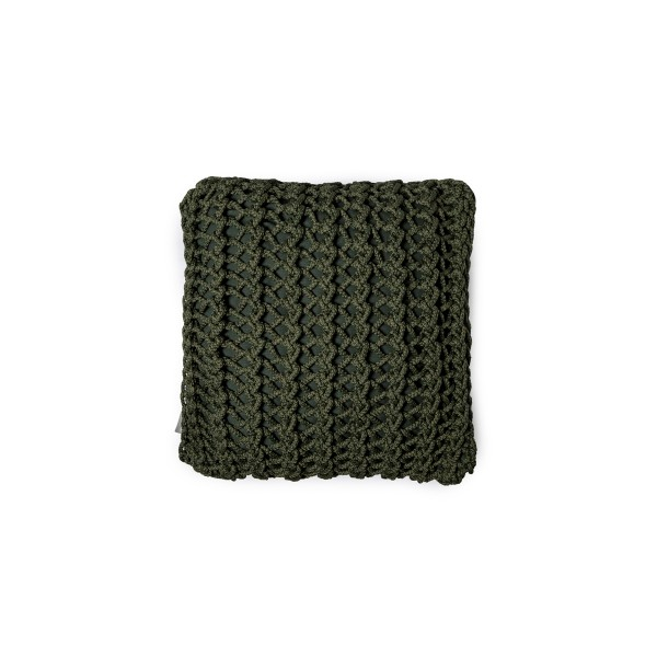 """Cushion knitted one side - 45*45 / 60*60 - 6mm """"XX"""" - Olive"""